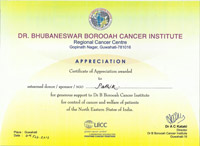 Certificate on Cancer Work
